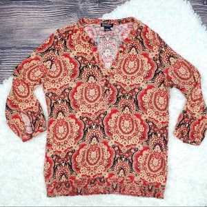 Lucky Brand Knit-Wear red peasant 3/4 sleeves top